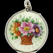 Edwardian Silver Enamel Basket of Anemone Flowers Locket