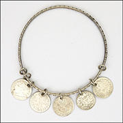 Victorian 1896 CHARLES HORNER Engraved Bangle with Silver Coin Charms