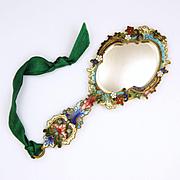 French Art Nouveau Champlevé Enamel Hand Mirror