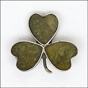 Edwardian Shamrock Connemara Marble and Sterling Silver Pin -1906