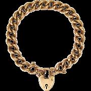 Victorian 9 Carat 'Night & Day' Curb Bracelet - Heart Padlock Clasp - 16.7 grams