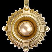 Victorian 9K Gold Locket Back Pendant
