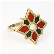 Scottish Victorian 9K Gold Agate and Pearl Ring