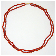 Antique Double Strand Coral Necklace - 9K Gold Clasp