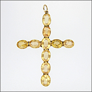 Victorian Large 9K Gold Citrine Cross Pendant