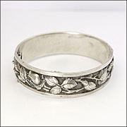 French Silver Sculpted Rose Bangle