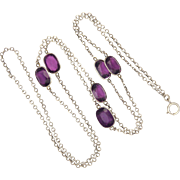 French Silver and Amethyst Glass Guard Chain - 42 inches