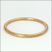 European Gold Filled Engraved Hinged Bangle
