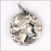 Art Nouveau German 900 Silver Lady and Water Lily Pendant