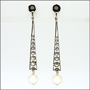 French Art Deco Silver Jet Marcasite and  Pearl Drop Earrings - Screw Backs