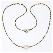 French Art Deco Silver and Pearl ChokerNecklace