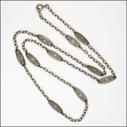 French Circa 1900 Silver Decorative Necklace - 24 inches