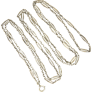"French Antique Silver Guard Chain with Decorative Links - 58"" - 20.5 grams"