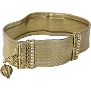 French Antique Silver Gilt Mesh Bracelet with Decorative Bars