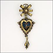 Swiss Circa 1800  Silver Gilt 'Trachtendeli' Reverse Painted Pendant