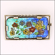 French Silver Enamel Flowers Pin - Limoges G Funck