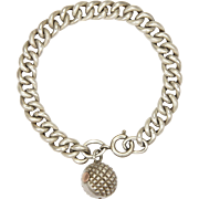 French Circa 1900 Silver Curb Bracelet with Ball Charm