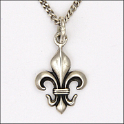 French Antique Silver Fleur de Lis Charm Pendant with Silver Chain