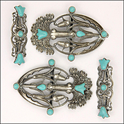 Art Nouveau Silver Plated and Turquoise Glass Flower Buckle Set