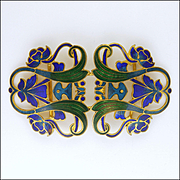 Art Nouveau Enamel on Gilt Metal Buckle