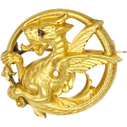 French Art Nouveau GoldFilled 'FIX' Griffin Pin with Ruby Eye