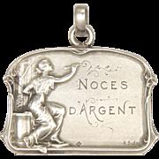 French Art Nouveau Silver 'Silver Wedding' Medal or Pendant - ASalès
