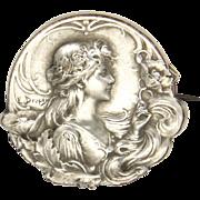 French Art Nouveau Silver Poppy Lady Pin - E Dropsy
