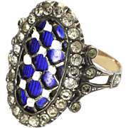 Early Victorian Silver Enamel and Pastes Ring with 9K Back