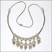 French Antique Silver Tassels Necklace