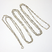 """French Circa 1900 Decorative Silver Guard Chain - 56"""" - 12.8 grams"""