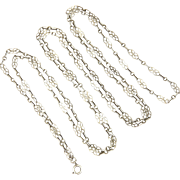 "French Circa 1900 Decorative Silver Guard Chain - 56"" - 12.8 grams"