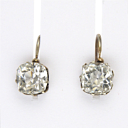 French Circa 1900-1910 Silver Paste Lever Back Earrings