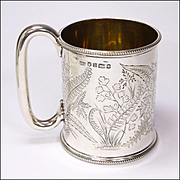 Victorian English Sterling Silver 1871 Christening Mug or Tankard