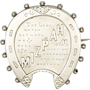 Victorian Silver 'MIZPAH' Horseshe Pin