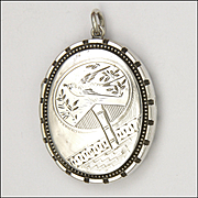 Victorian Sterling Sliver Aesthetic Period Bird Double Sided Locket
