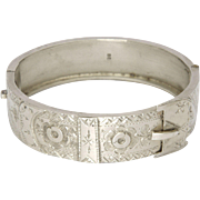 Victorian English Sterling Silver 1887 Engraved Buckle Bangle