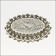 Victorian English Sterling Silver 1882 Ferns Locket Back Pin - William J Holmes