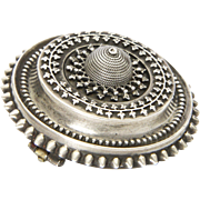 Victorian Sterling Silver Domed Locket Back Pin - pre 1883