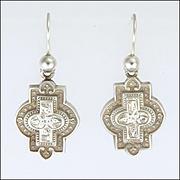 Victorian 1882 English Sterling Silver Shaped Earrings - Hooks