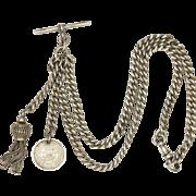 Victorian English Sterling Silver Watch Chain Bracelet Choker with Tassel