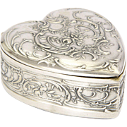 Antique German 800 Silver Heart Shaped Trinket Box  - MARTIN MAYER