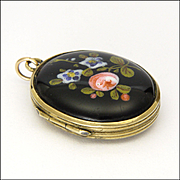 Victorian Ceramic Painted Flowers and Brass Locket