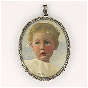 Edwardian Silver Framed Watercolour of a Young Child  Locket Pendant