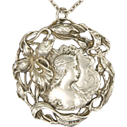 Art Nouveau 1902 English Sterling Silver Lady Pendant -- with 830 Silver Chain