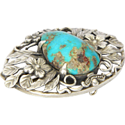 English BERNARD INSTONE Sterling Silver and Natural Turquoise Pin
