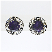 BERNARD INSTONE - Sterling Silver and Amethyst Earrings - Pierced Ears