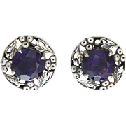 BERNARD INSTONE - Sterling Silver and Amethyst Earrings - Pierced Ears