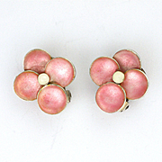 Art Deco Silver Enamel Flower Clip Earrings - BERNARD INSTONE