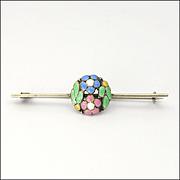 Bernard Instone - Art Deco Silver Enamel Bar Pin