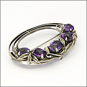 BERNARD INSTONE - Sterling Silver and Amethysts Brooch